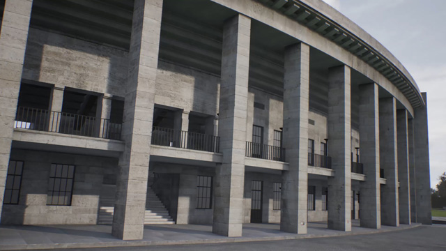 David Claerbout. Olympia (The real time disintegration into ruins of the Berlin Olympic stadium over the course of a thousand years) (horizontal), 2016. Single channel video installation, colour, silent, HD animation, 1,000 years. Edition of 7 with 2 APs and 1 AC. © David Claerbout. Courtesy of the artist and Sean Kelly.