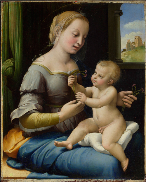 Raphael. <em>The Madonna of the Pinks</em>, <br>         about 1506-7. &copy; National Gallery, London.