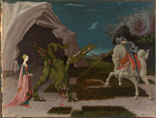 Paolo Uccello.        <em>Saint George and the Dragon</em>, <br> about 1470. &copy; National Gallery, London.