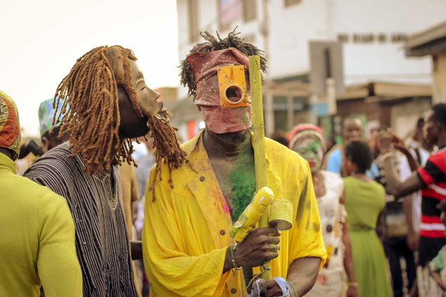 Serge Attukwei Clottey and GoLokal, Chale Wote 2016 performance. Courtesy the  artist and Gallery 1957. Photograph: Shafic Hijazi.
