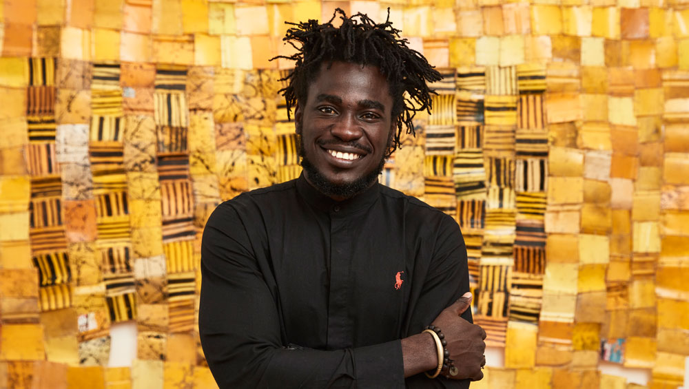 "Using his body as an object, Ghanaian artist Serge Attukwei Clottey works with international media – as well as plastic yellow ""gallons"" (jerrycans) – to speak out about politics, religion, sex and tradition"