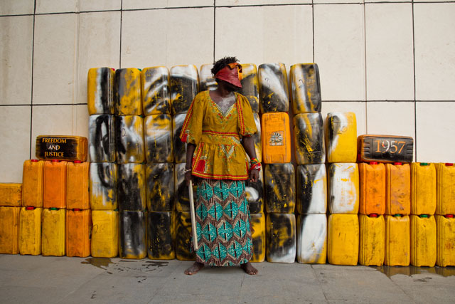 Serge Attukwei Clottey and GoLokal. My Mother's Wardrobe, performance at Gallery 1957, 6 March 2016. Courtesy the artist and Gallery 1957. Photograph: Nii Odzenma.
