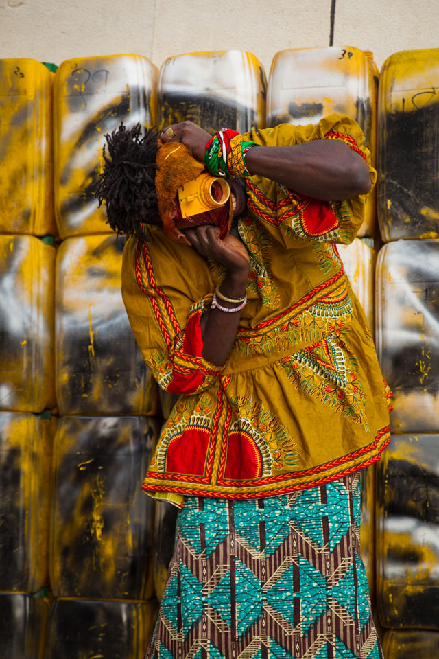 Serge Attukwei Clottey and Serge Attukwei Clottey and GoLokal. My Mother's Wardrobe, performance at Gallery 1957, 6 March 2016. Courtesy the artist and Gallery 1957. Photograph: Nii Odzenma.