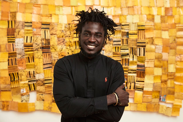 Serge Attukwei Clottey at 1-54 Contemporary African Art Fair, courtesy of the artist and Gallery 1957. Photograph: Luke Walker.