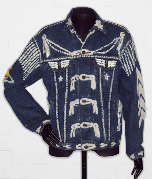 Denim jacket, 'BLITZ', by Levi Strauss & Co., customised by Vivienne Westwood, 1986. © Victoria and Albert Museum, London.
