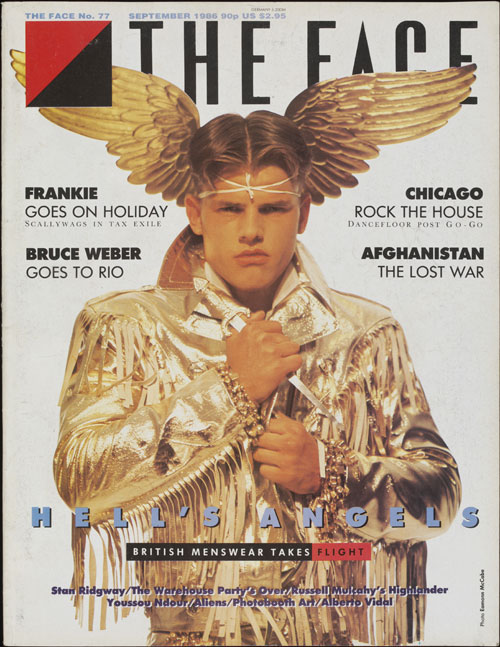 Front cover from The Face, September 1986, no 77 (Hell's Angels Cover). Lloyd Johnson gold jacket.  Photograph © Eamonn McCabe.