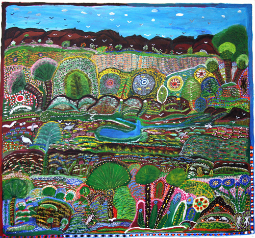 Gertie Huddleston. <em>Ngukurr Landscape with Cycads,</em> 1997. Synthetic polymer paint on canvas, 143 x 134 cm. Museum and Art Gallery of the Northern Territory Collection. Purchased through the Shell Development Australia Aboriginal Art Acquisition Fund.