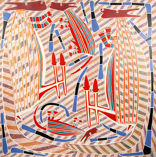 Djambu Barra Barra. <em>Two Kangaroos and two Dogs, </em>2005. Synthetic polymer paint on canvas, 120 x 120 cm. Private collection, Sydney.