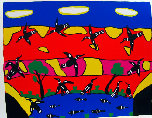 Amy Jirwulurr Johnson. <em>Busy Birds,</em> 2002. Silkscreen on paper, 51 x 65 cm. Wagga Wagga Art Gallery Collection.
