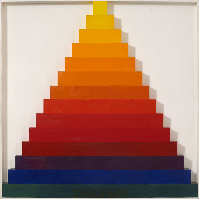 Joe Tilson. Zikkurat 1, Spectrum, 1967. Oil and acrylic on board (relief), 217 x 217 cm (85.5 x 85.5 in). Courtesy of Waddington Custot.