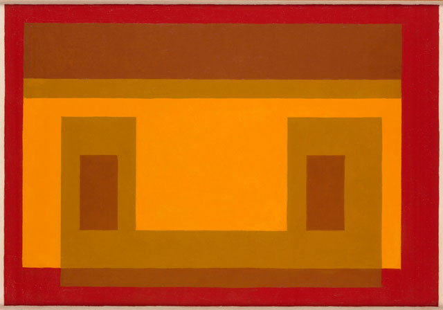 Josef Albers. Variant Adobe (JAAF 1976.1.1166), 1956. Oil on masonite, (45 x 64.5 cm) 17.75 x 25.4 in. Courtesy of Waddington Custot.