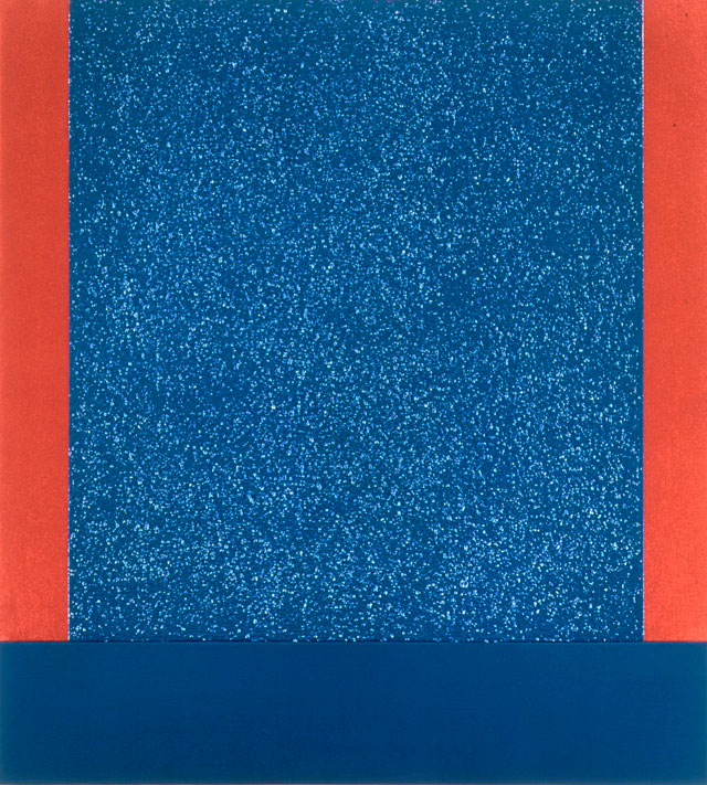 Peter Halley. Blue Cell PHP 99-38s, 1999. Acrylic, pearlescent and metallic acrylic and Roll-a-Tex on canvas, (111.8 x 101.6 cm) 44 x 40 in. Courtesy of Waddington Custot.