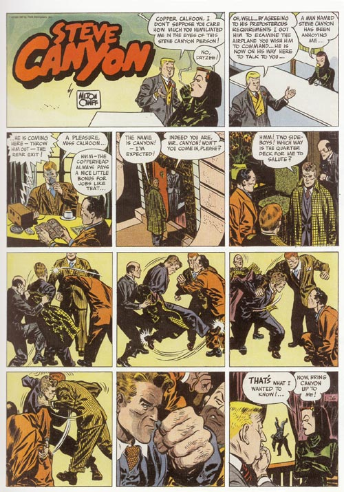 Milton Caniff. <em>Steve Canyon</em>. Sunday newspaper page (published 26 January 1947). Ohio State University Cartoon Research Library, Milton Caniff Collection. Reproduced with permission of the Milton Caniff Estate.