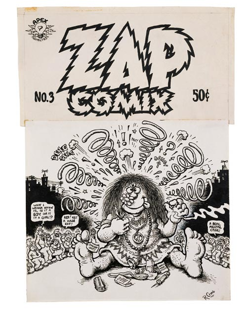 R Crumb. Drawing for cover of <em>Zap Comix </em>#3, 1968. Pen and ink on paper. Collection of Eric F. Sack. Courtesy Paul Morris Gallery, New York. © The Paul Morris Gallery and the Artist, 2006.