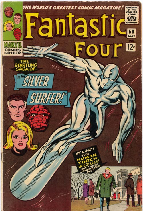 Jack Kirby. Cover of <em>Fantastic Four </em>#50 comic book, (published May 1966). Collection of Michigan State University. FANTASTIC FOUR: ™ and © 2006 Marvel Characters, Inc. Used with permission.