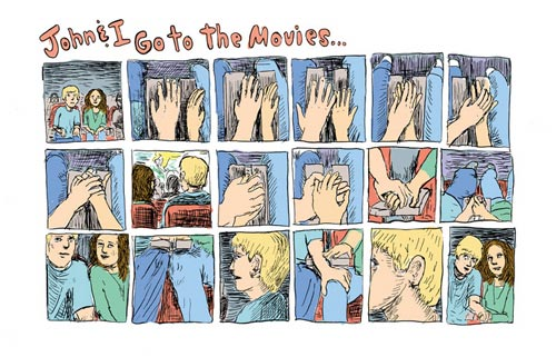 Lauren Weinstein. 'Movie,' page 1, 2005. Ink and watercolor on paper. 14' x 17'. Courtesy Adam Baumgold Gallery.