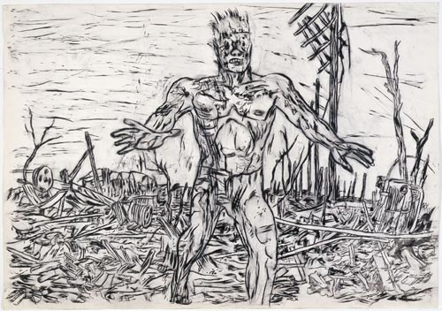 Gary Panter. Drawing for<em> 'Jimbo is Stepping off the Edge of a Cliff!'</em> from <em>Jimbo</em> c. 1988. Pen and ink on paper. Collection of the artist. Reproduced with permission of the artist.