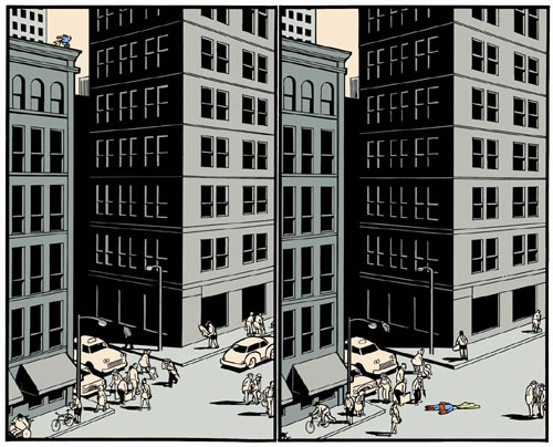 Chris Ware. 'Superman Suicide'. Two pages from <em>Jimmy Corrigan, The Smartest Kid on Earth</em>, published 2000. Reproduced with permission of the artist.