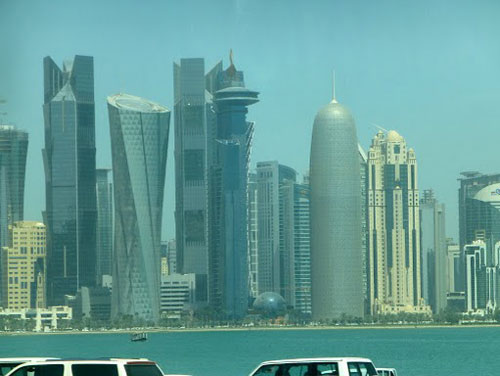 Qatar - skyscrapers of West Bay, including Jean Nouvel's (the one shaped like a gherkin)