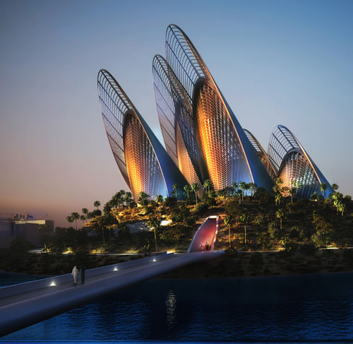 Zayed National Museum, Abu Dhabi. Rear view at night. Architects Foster + Partners. Courtesy Zayed National Museum.