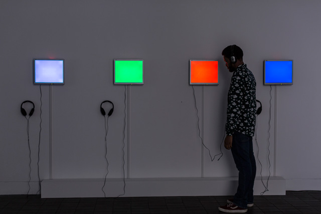 Antonio Roberts. Digital interpretations of songs by Metallica, Robin Thicke,  George Harrison and Vanilla Ice, 2015. Photograph: Hydar Dewachi.