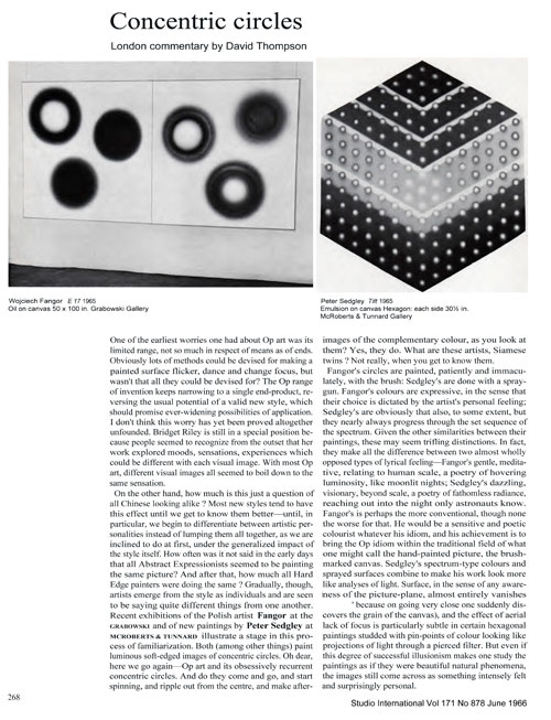 Image top left: Wojciech Fangor, E17, 1965. Oil on canvas, 50 x 100 in. Grabowski Gallery. Image top right: Peter Sedgley, Tilt, 1965. Emulsion on canvas, hexagon, each side 30.5 in. McRoberts & Tunnard Gallery. Image © Studio International, Vol 171 No 878, June 1966.