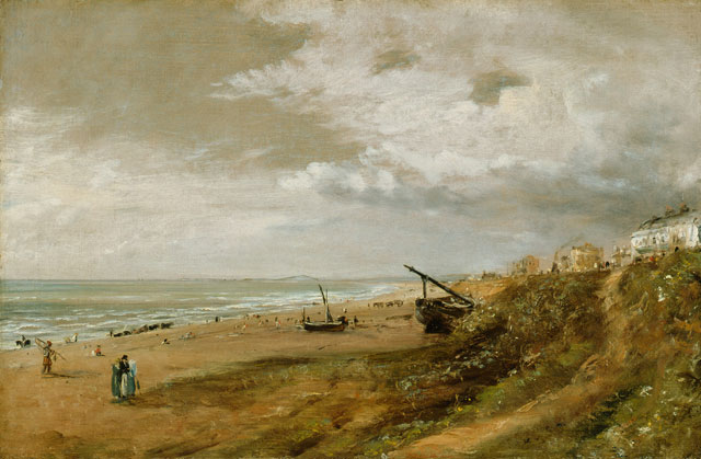 John Constable. Hove Beach, undated. Oil on canvas laid on panel. Lent by The Syndics of the Fitzwilliam Museum, University of Cambridge.