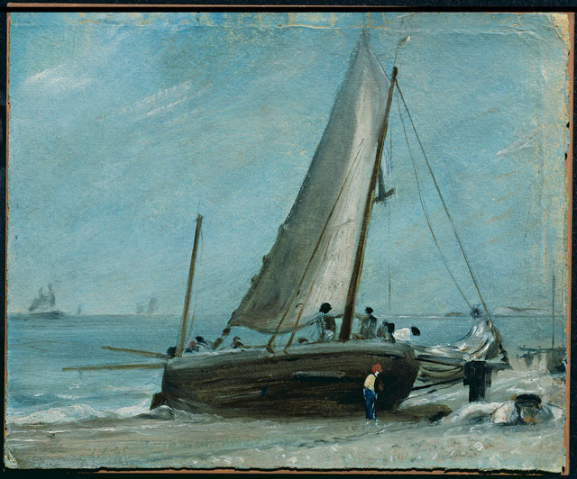 John Constable. Brighton Beach with Fishing Boat and Crew, c1824-28. © Victoria and Albert Museum, London.