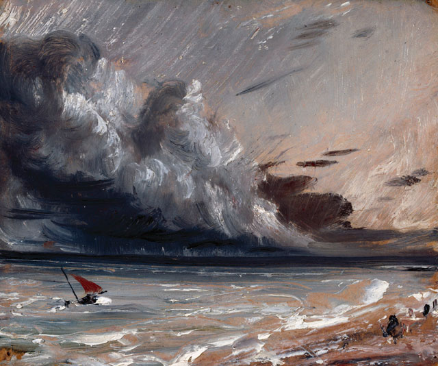 John Constable. Seascape Study: Boat and Stormy Sky, c1824-28. Oil on paper laid on board, 18.50 x 15.50 cm. Given by Isabel Constable, 1888. Photograph © Royal Academy of Arts, London; Photograph: John Hammond.