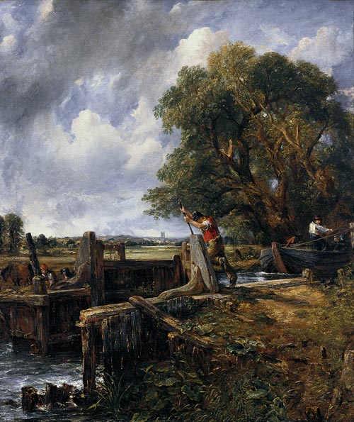 John Constable. <em>The Lock</em>, 1824. Oil on canvas. 142.2 x 120.7 cm. Carmen Thyssen-Bornemisza Collection, on loan at the Thyssen-Bornemosza Museum.