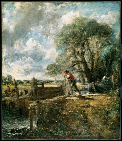 John Constable. <em>The Lock</em> (full-size sketch), 1823-4. Oil on canvas. 141.7 x 122 cm. Philadelphia Museum of Art.