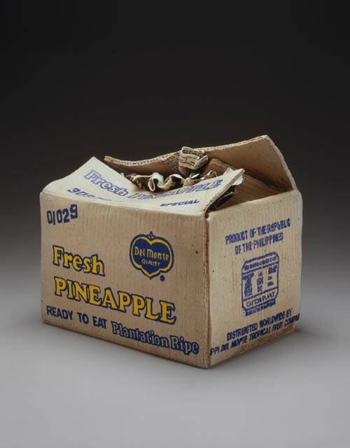 Mishima Kimiyo. <em>Pineapple Box</em>, 1986. Silk-screened stoneware, 10 x 11 x 8 in (25.4 x 27.9 x 20.3 cm). Photo by Richard P Goodbody. Courtesy Halsey and Alice North.