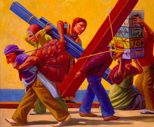 Susan Contreras. <em>Los Trabajadores (The Workers)</em> 2005. Oil on linen, 50 x 80 in.