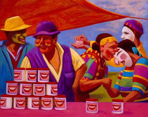 Susan Contreras. <em>Sonrisas Dulces (Sweet Smiles)</em> 2005. Oil on canvas, 40 x 50 in.