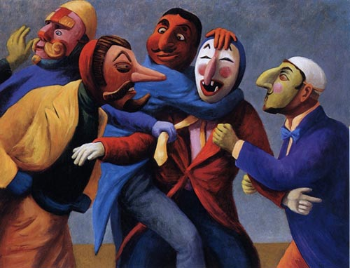 Susan Contreras. <em>Coattails and Ties</em> 1998. Oil on linen, 42 x 54 in.