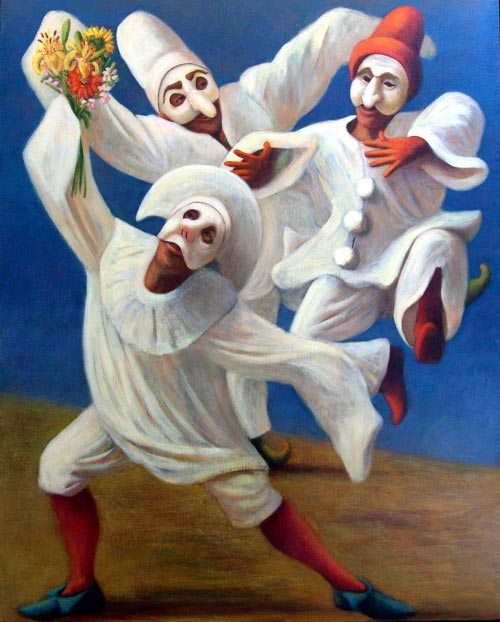 Susan Contreras. <em>Lovesick Fools</em> 1999. Oil on canvas, 50 x 40 in.