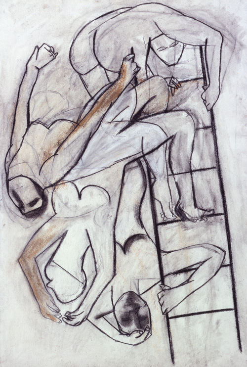 Eileen Cooper. Climbing the Ladder, 1977-78. Charcoal on paper, 136 x 100 cm.