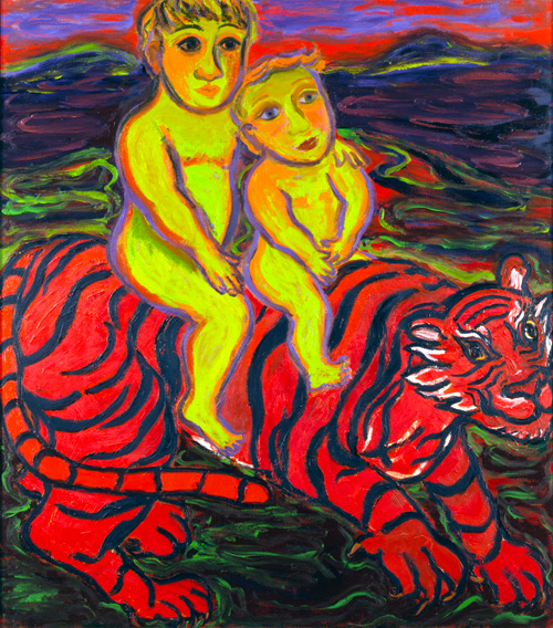 Eileen Cooper. Boys and Tiger, 1989-91. Oil on canvas, 137 x 122 cm.