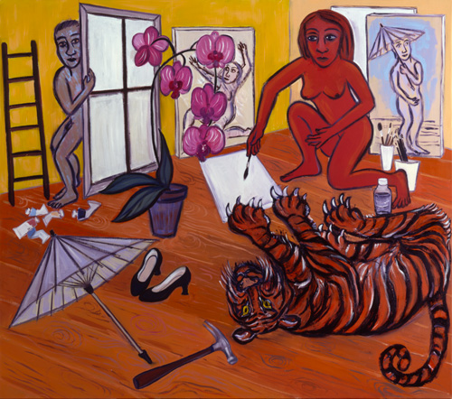 Eileen Cooper. Studio with Tiger, 2002-03. Oil on canvas, 123 x 137 cm.