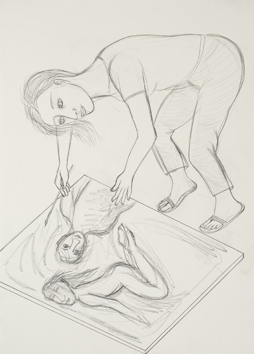 Eileen Cooper. Narrative, 2011. Pencil on paper, 70.5 x 50 cm.