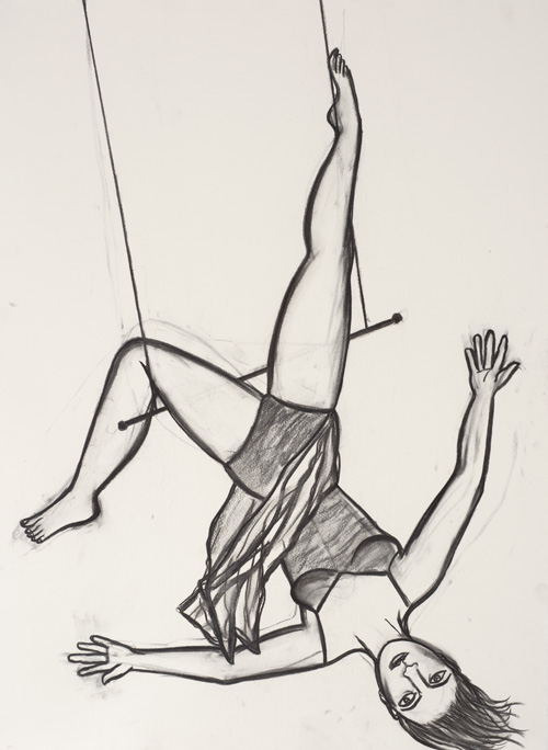 Eileen Cooper. Trapeze II, 2012. Charcoal on paper, 76 x 56 cm.
