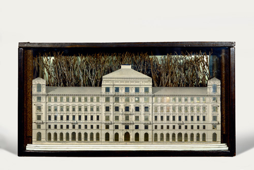 Joseph Cornell. Palace, 1943. Box construction: Glass-paned, stained wood box with photomechanical reproduction, mirror, spray-painted twigs, wood and shaved bark, 26.7 x 50.5 x 13 cm. The Menil Collection, Houston. Photograph: The Menil Collection, Houston. Photography: Hickey-Robertson. © The Joseph and Robert Cornell Memorial Foundation/VAGA, NY/DACS, London 2015.