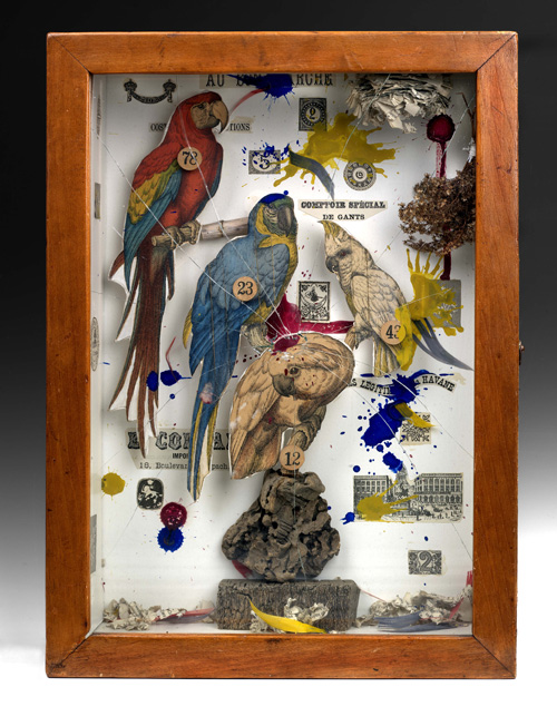 Joseph Cornell. Habitat Group for a Shooting Gallery, 1943. Mixed media, 39.4 x 28.3 x 10.8 cm. Purchased with funds from the Coffin Fine Arts Trust; Nathan Emory Coffin Collection of the Des Moines Art Center. Photo Collection of the Des Moines Art Center.