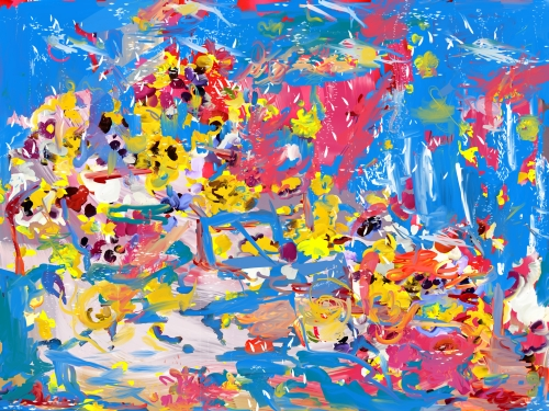 Petra Cortright. friends 3z sound files friend poetry frits + phillips bang, 2014. Digital painting on aluminium, 59 x 78.5 in.