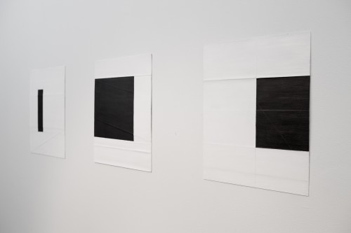Deb Covell. Submerged Square. Acrylic paint (1-3), 15 x 11cm each (total expanse 45cm). Photograph: Cathal Carey.