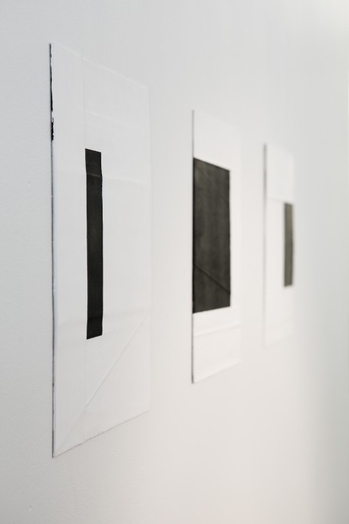 Deb Covell. Submerged Square. Acrylic paint (1-3), 15 x 11cm each (total expanse 45cm). (View 2). Photograph: Cathal Carey.