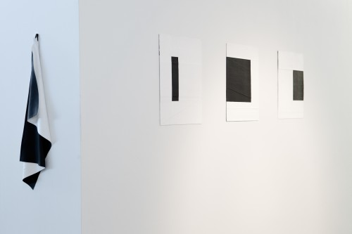 Deb Covell. Drape. Acrylic paint, 27 x 8cm; Submerged Square. Acrylic paint (1-3), 15 x 11cm each (total expanse 45cm). Photograph: Cathal Carey.
