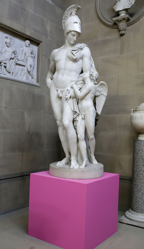 Michael Craig-Martin at Chatsworth, installation image. John Gibson. Mars restrained by cupid. © Chatsworth House Trust