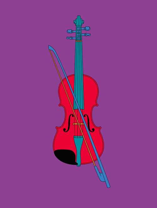 Michael Craig-Martin. Violin (Chatsworth), 2014. Screenprint on 410gsm Somerset Satin paper. Paper 60 x 46 cm / Image 49 x 37 cm. Edition of 40. Courtesy the artist and Alan Cristea Gallery.