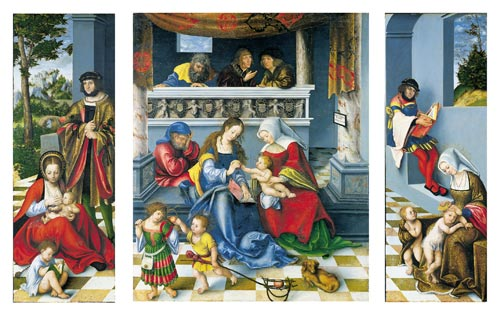 Lucas Cranach the Elder. <em>Triptych with the Holy Kinship,</em> 1509. Oil and tempera on limewood panel: centre panel, 121.1 x 100.4 cm; side panels, 120.6 x 45.3 cm each. Staedel Museum, Frankfurt am Main Photo &copy; Jochen Beyer, Village-Neuf
